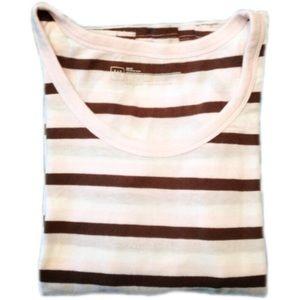 5/$25!🌟 GAP Pink Cream Brown Striped 3/4 Sleeve T